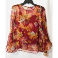 Vince Camuto Bell Sleeve Floral Flowy Long Sleeve Attached Cami Top Red Image 1