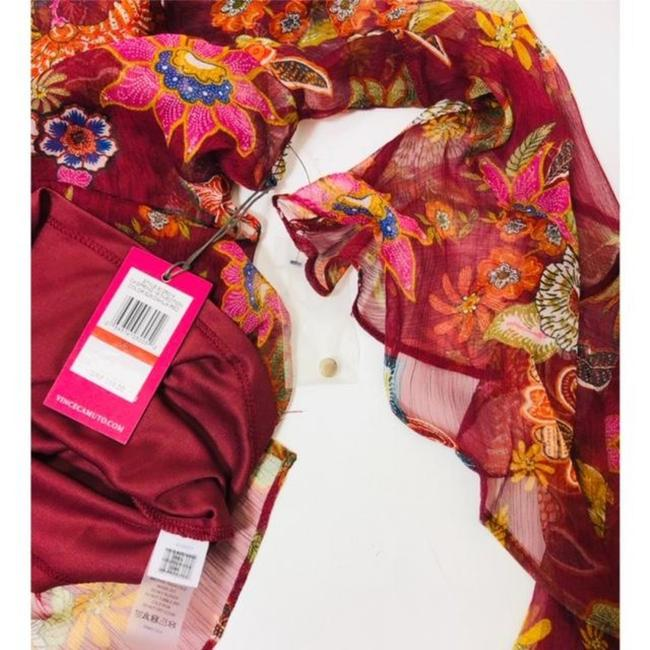Vince Camuto Bell Sleeve Floral Flowy Long Sleeve Attached Cami Top Red Image 3