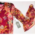 Vince Camuto Bell Sleeve Floral Flowy Long Sleeve Attached Cami Top Red Image 4