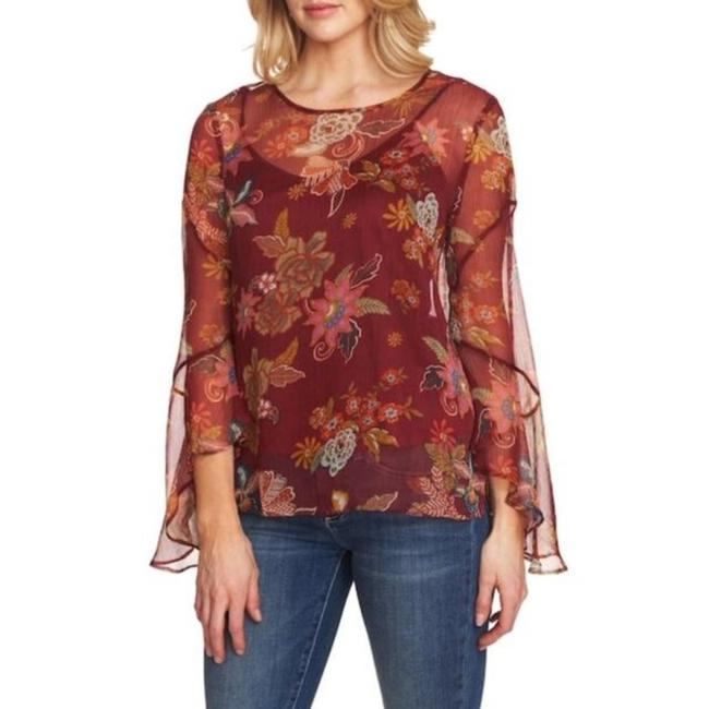 Vince Camuto Bell Sleeve Floral Flowy Long Sleeve Attached Cami Top Red Image 5