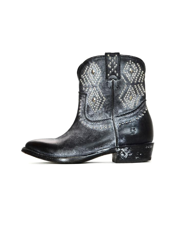 8a52a0ee483 Frye Black Leather Billy Studded Boots Booties Size US 5.5 Regular ...