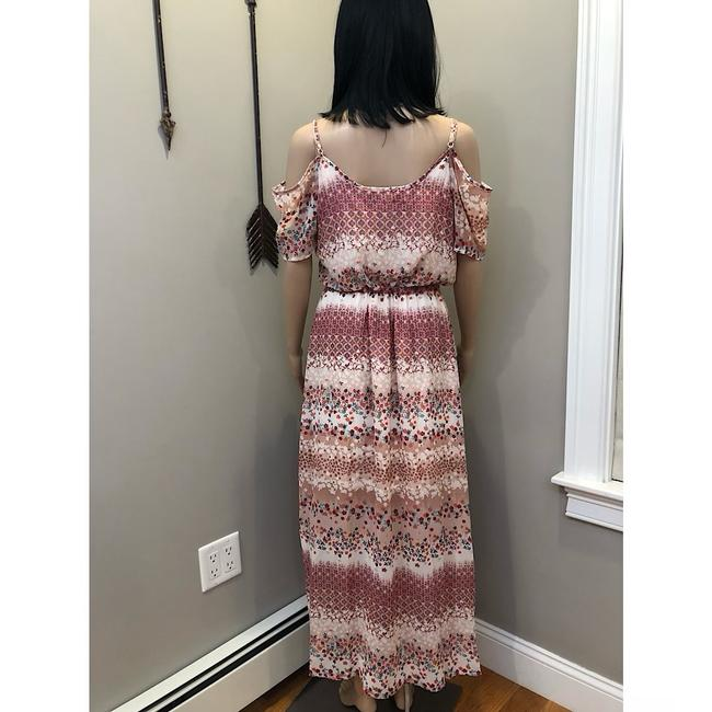 Cream, Red, Pink, White, Floral Maxi Dress by Wishful Park Boho Bohemian Coachella Festival Hippie Image 4