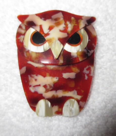 Other Lea Stein Art Deco Buba Owl Brooch Pin Vintage Signed Image 1