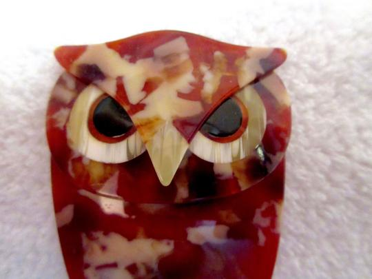 Other Lea Stein Art Deco Buba Owl Brooch Pin Vintage Signed Image 4