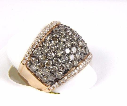 Other Fancy Color Round Diamond Wide Cluster Cigar Ring Band 14k RG 4.72Ct Image 1