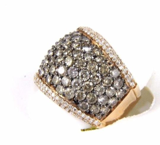 Other Fancy Color Round Diamond Wide Cluster Cigar Ring Band 14k RG 4.72Ct Image 2