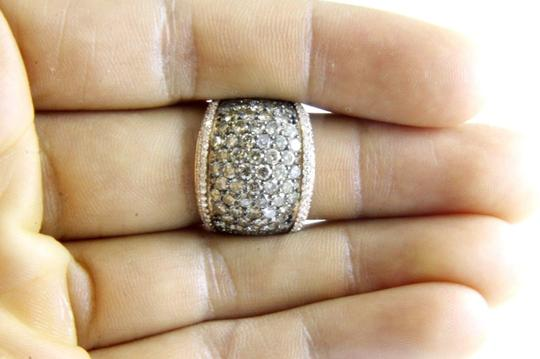 Other Fancy Color Round Diamond Wide Cluster Cigar Ring Band 14k RG 4.72Ct Image 3