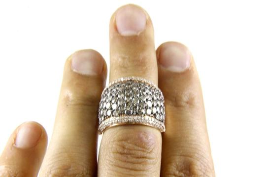 Other Fancy Color Round Diamond Wide Cluster Cigar Ring Band 14k RG 4.72Ct Image 4