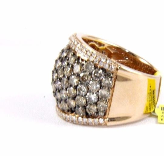 Other Fancy Color Round Diamond Wide Cluster Cigar Ring Band 14k RG 4.72Ct Image 5