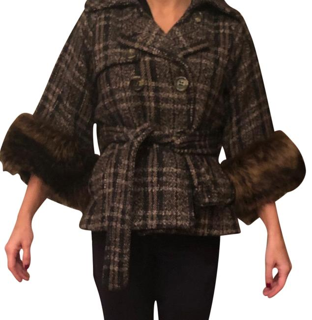 Item - Brown/Black Plaid Double Breasted Coat Size 0 (XS)