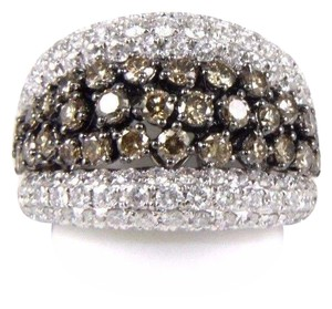 Other Fancy Color Diamond Wide Cluster Cigar Ring Band 14k White Gold 4.04Ct