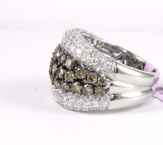 Other Fancy Color Diamond Wide Cluster Cigar Ring Band 14k White Gold 4.04Ct Image 1