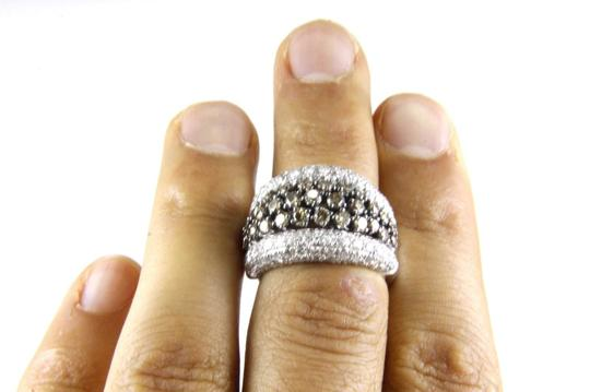 Other Fancy Color Diamond Wide Cluster Cigar Ring Band 14k White Gold 4.04Ct Image 3