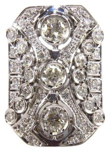 Other Tall Round Diamond 3 Stone Cluster Ring 14k White Gold 2.35Ct