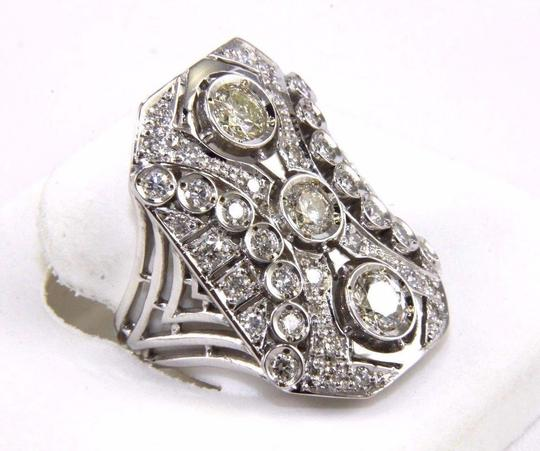 Other Tall Round Diamond 3 Stone Cluster Ring 14k White Gold 2.35Ct Image 1