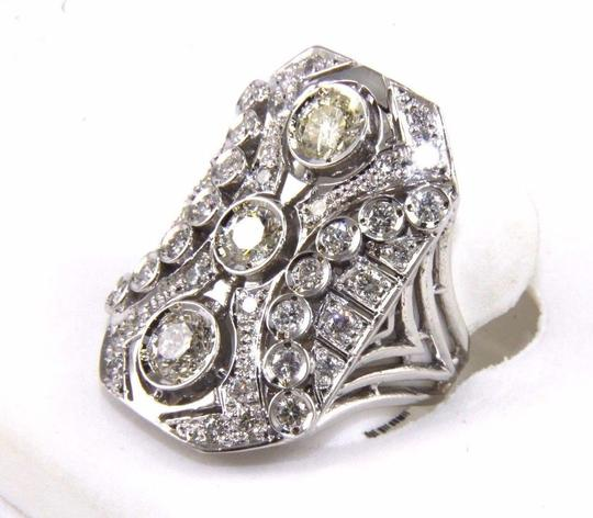 Other Tall Round Diamond 3 Stone Cluster Ring 14k White Gold 2.35Ct Image 2