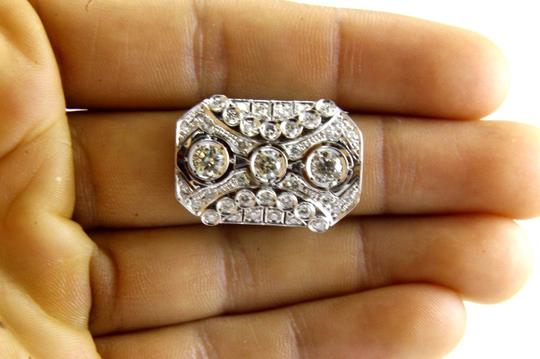 Other Tall Round Diamond 3 Stone Cluster Ring 14k White Gold 2.35Ct Image 3