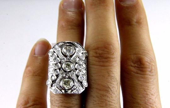 Other Tall Round Diamond 3 Stone Cluster Ring 14k White Gold 2.35Ct Image 4