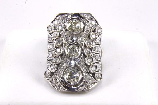 Other Tall Round Diamond 3 Stone Cluster Ring 14k White Gold 2.35Ct Image 5