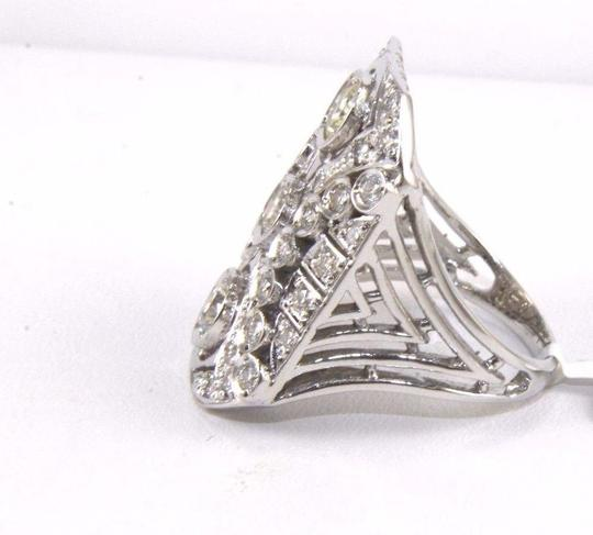 Other Tall Round Diamond 3 Stone Cluster Ring 14k White Gold 2.35Ct Image 6