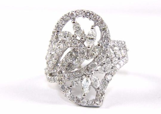 Other Marquise & Round Diamond Cluster Bypass Ring Band 18k WG 2.50Ct Image 3
