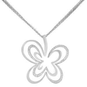 Saya Diamond Pendant Clover Butterfly Pave Encrusted on A Chain 0.20cts