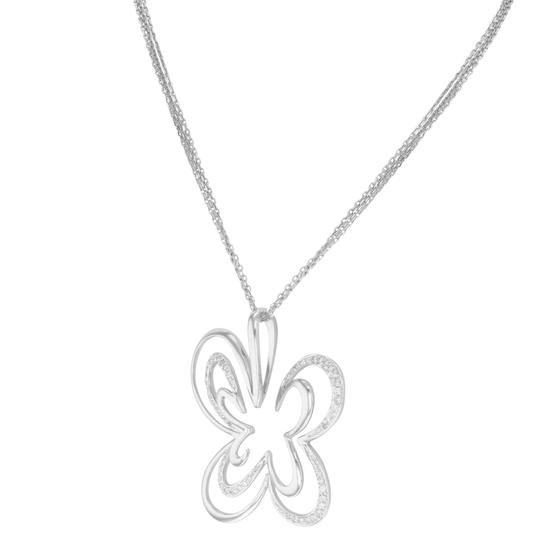 Saya Diamond Pendant Clover Butterfly Pave Encrusted on A Chain 0.20cts Image 2