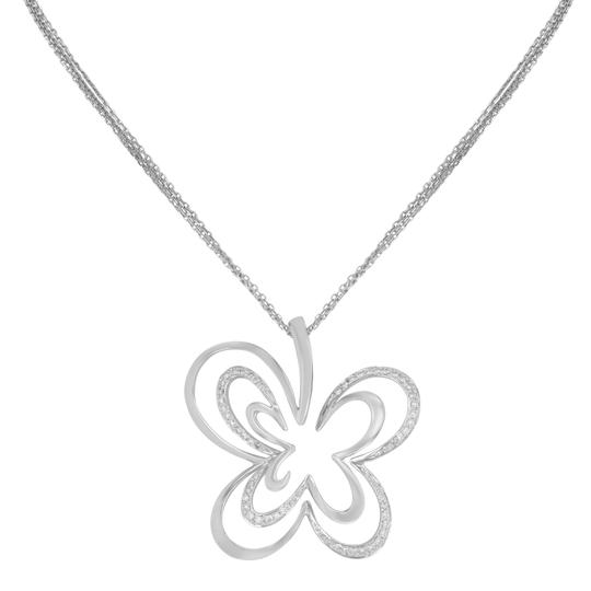 Saya Diamond Pendant Clover Butterfly Pave Encrusted on A Chain 0.20cts Image 3