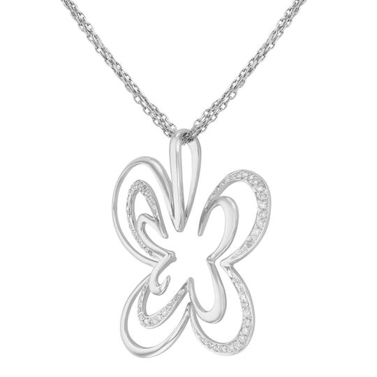 Saya Diamond Pendant Clover Butterfly Pave Encrusted on A Chain 0.20cts Image 4