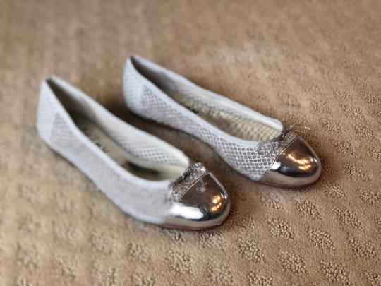 French Sole Silver Flats Image 1