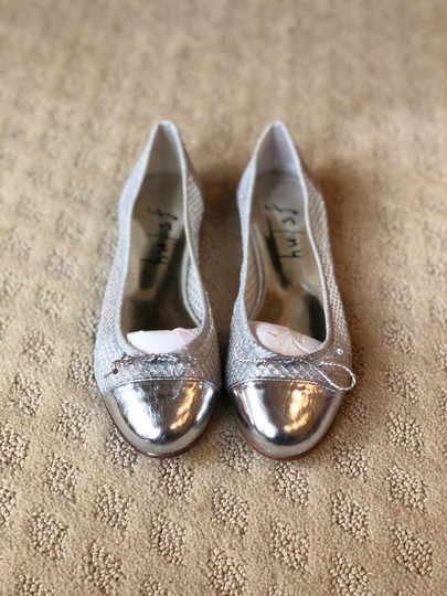 French Sole Silver Flats Image 2