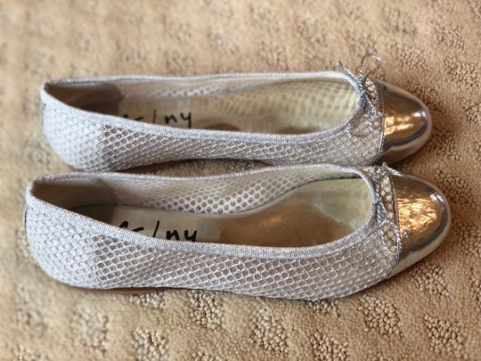 French Sole Silver Flats Image 3