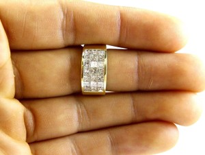 Other 3 Row Princess Cut Cluster Invisible Diamond Ring Band 18k YG 2.68Ct