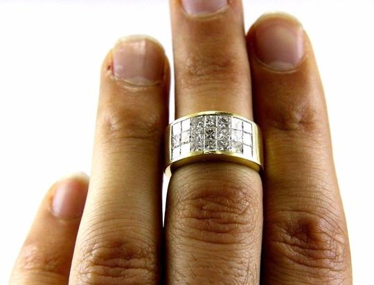 Other 3 Row Princess Cut Cluster Invisible Diamond Ring Band 18k YG 2.68Ct Image 1