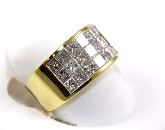 Other 3 Row Princess Cut Cluster Invisible Diamond Ring Band 18k YG 2.68Ct Image 2