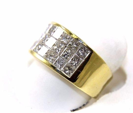 Other 3 Row Princess Cut Cluster Invisible Diamond Ring Band 18k YG 2.68Ct Image 3