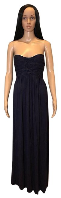 Item - Navy Blue Strapless Braided Front Empire Waist with Ties Long Casual Maxi Dress Size 8 (M)