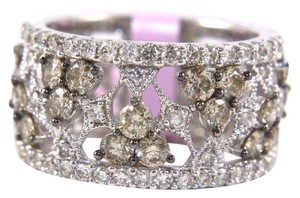 Other Fancy Color Diamond Wide Spiderweb Ring Band 14k White Gold 3.50Ct