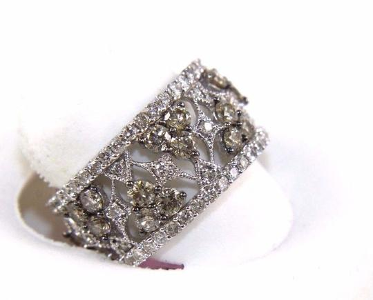 Other Fancy Color Diamond Wide Spiderweb Ring Band 14k White Gold 3.50Ct Image 1