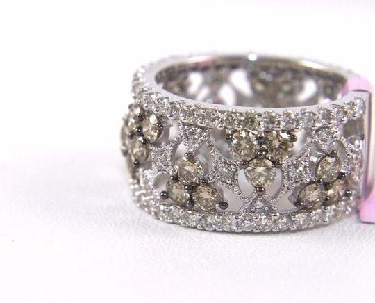 Other Fancy Color Diamond Wide Spiderweb Ring Band 14k White Gold 3.50Ct Image 2