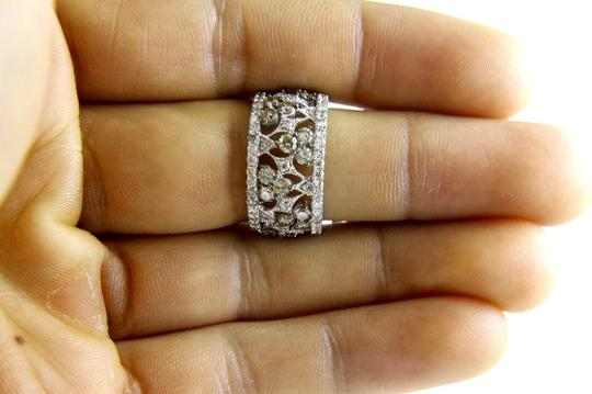 Other Fancy Color Diamond Wide Spiderweb Ring Band 14k White Gold 3.50Ct Image 3