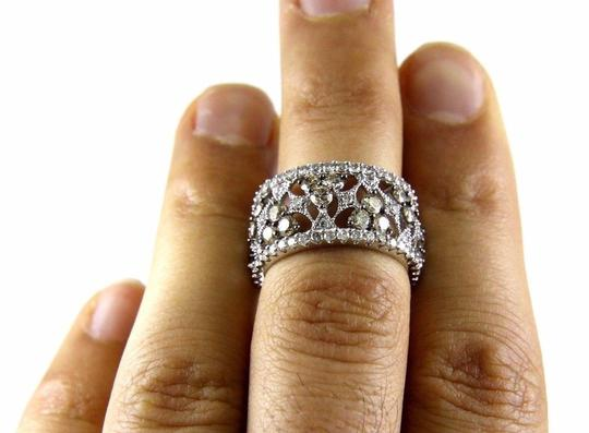 Other Fancy Color Diamond Wide Spiderweb Ring Band 14k White Gold 3.50Ct Image 4