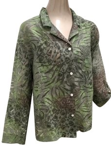 French Laundry Lightweight Blouse Partly Sheer Button Down Shirt Green Multi