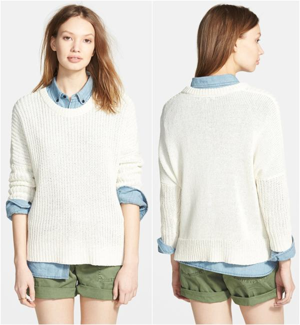 Madewell Knit Crochet Chunky Preppy Pearl Sweater Image 1