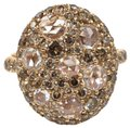 Other Round Rose Cut Champagne Diamond Cluster Ring 18k Rose Gold 2,92Ct Image 0