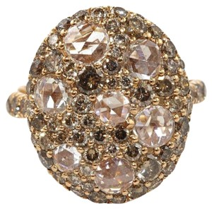 Other Round Rose Cut Champagne Diamond Cluster Ring 18k Rose Gold 2,92Ct