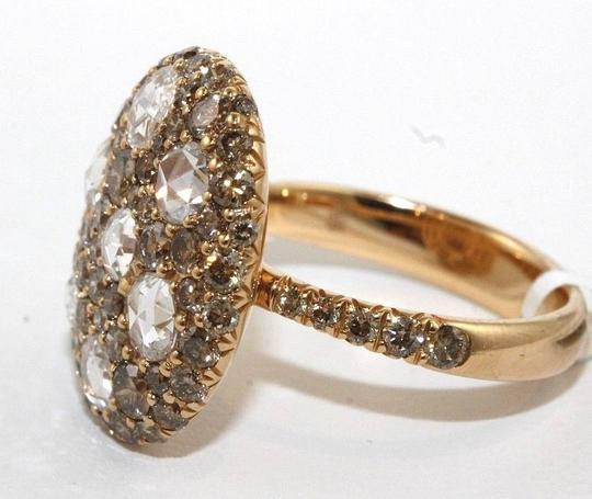 Other Round Rose Cut Champagne Diamond Cluster Ring 18k Rose Gold 2,92Ct Image 1