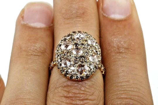 Other Round Rose Cut Champagne Diamond Cluster Ring 18k Rose Gold 2,92Ct Image 4