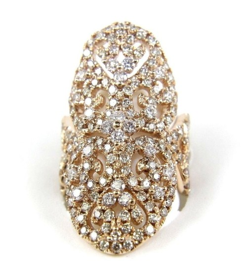 Other Fancy Filigree Cluster Diamond Ring Band w/Accents 14k RG 3.74Ct Image 1