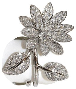 Other Flower Leaf Shape Diamond Cluster Pave Ring 18k White Gold 1.50Ct